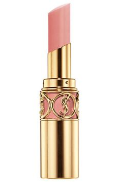 Yves Saint Laurent Rouge Volupté lipstick in Nude Beige. For someone with a fairer complexion, a nude that's too beige-y will appear yellow. Pick a nude that's in the pale pink family.  For the truest shade of the lipstick to shine through, neutralize your own lip color first by applying foundation.