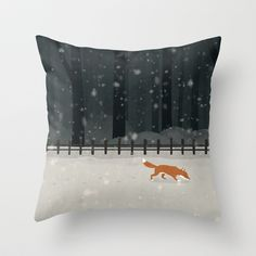 Fox in the woods Throw Pillow by Dan Christofi - $20.00