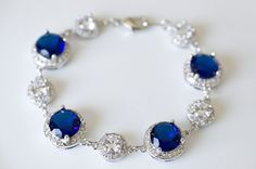 Something Blue Sapphire Bracelet, Cubic Zirconia Bridal Bracelet, Cubic Zirconia Sapphire Bracelet, Bridesmaids Bracelet, Wedding Jewelry