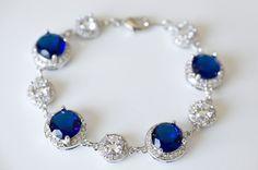 Something Blue Sapphire Bracelet Cubic Zirconia by CrinaDesign73, $60.00