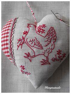 Rooster Redwork.