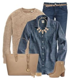 Crewneck Sweater & Chambray Shirt by immacherry on Polyvore featuring polyvore, fashion, style, Jack Wills, J.Crew, RED Valentino, MICHAEL Michael Kors, Chan Luu, Rivka Friedman, women's clothing, women's fashion, women, female, woman, misses and juniors