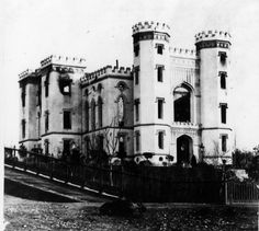 Old State Capitol - Photograph - Exterior view after the fire of 1862 Louisiana