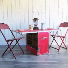 """Mid Century Home-made Camping Kitchen - Camping Chest - Portable Table """"Lots of Character"""""""