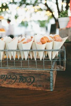 Donut Hole Cones: Particularly if you have a large or spread-out wedding venue, your guests may want to wander around. They can munch on donut holes in paper cones while mingling with acquaintances.