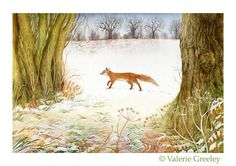 Winter Fox landscape print by acornmoon on Etsy, £12.00