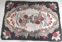 Vibrant Antique Folk Art Floral Hand Hooked Large Rug