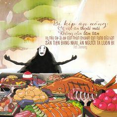 """kitesquotes:  """"Bí kíp ăn uống:Cứ việc ăn thoải mái, không cần lăn tăn.Và nếu có ai đó cằn nhằn chuyện cân nặng của bạn, sẵn tiện đang nhai, ăn người ta luôn đi.""""{Dịch: shinmoney}des by _Himawari_@  Kites Quotes"""