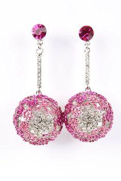 Pretty Pink Crystal Bauble Earrings