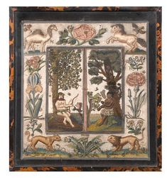 A needlework mirror with folding shutters.English, circa 1660. Photo: Bonhams. The ivory silk ground embroidered in coloured silks and metal thread with needlelace, raised, padded, purled and coiled work, the left shutter with a wild man wearing a skirt of flowers, a circlet of flowers in his hair, seated beneath a tree with a bow and arrow beside him, a spider hanging from a tree and a squirrel on a branch before him, the right shutter with a blackamoor woman standing beneath a tree and wear…