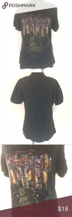 GRACELAND ELVIS PRESLEY RHINESTONE BLACK TOP SZ XL Good condition Graceland rhinestone guitar black t shirt size xl Direct from Graceland Tops Tees - Short Sleeve
