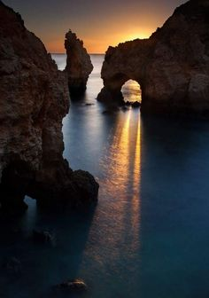 Beautiful sunset on the seacoast, near the town Carvoeiro, in Algarve province in Portugal - Csodálatos naplemente a tengerparton Carvoeiro város közelében, Algarve tartományban, Portugáliában Places Around The World, The Places Youll Go, Places To See, Around The Worlds, Beautiful Sunset, Beautiful World, Beautiful Beautiful, Absolutely Gorgeous, Wonderful Places