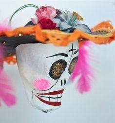 La Catrina paper mache head-Mexico