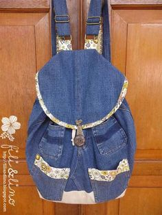 Don't Throw Away Your Shabby Jeans! This tutorial shows you how to turn your lovely old denim jeans into a handy backpack. For a professional finish, add s