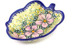 Polish Pottery 8-inch Leaf Shaped Bowl | Boleslawiec Stoneware | Polmedia H8024F