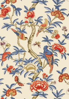 GISELLE, Blue and Coral, T14228, Collection Imperial Garden from Thibaut
