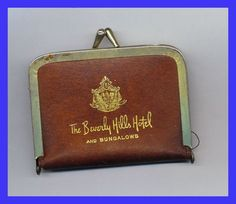 Vintage 1950s Sewing repair Kit The BEVERLY HILLS HOTEL & Bungalows Leather