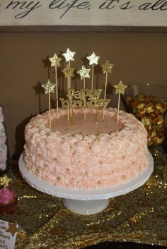 Pink and Gold twinkle twinkle first birthday cake! I'm in love!