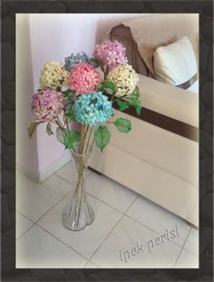 Ribbon wreath silk cacoon handmade colorful hortensia (model no: 003) by ipekperisi on Etsy