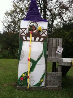 Rapunzel Tower Made From Cardboard Spray Painted Gray And