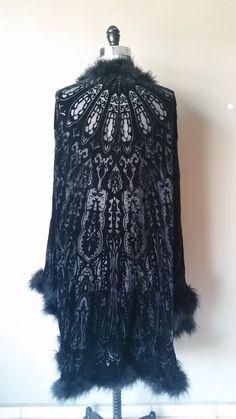 Vintage Silk Velvet Devore Burn Out Art Deco Maxi Kimono Gatsby Fur Flapper Coat #MinaCollection