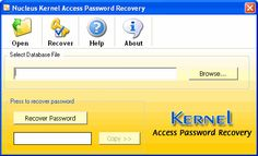 Home Screen - Main window of Kernel for Access Password recovery software.