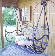 Swing Hanging Bench Porch Gondola Armchair from Metal Avis 1868 Garden Swing Hanging Bench Porch Gondola Seat Chair from Metal Avis 1868 Garden 4029945185210 Metal Patio Furniture, Iron Furniture, Furniture Ideas, Furniture Chairs, Patio Seating, Garden Seating, Garden Chairs, Outdoor Rooms, Outdoor Decor