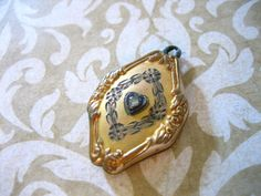 Antique Victorian Gold Filled LOCKET Pendant with Stone