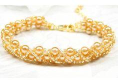 Flower Girl Bracelet, Gold Pearls, Hugs & Kisses Design, Hand Woven Childrens Wedding Jewelry WFG0118 - TheWeddingMile.com