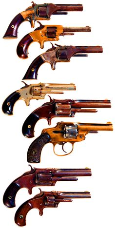 Pocket Revolvers. Looks like the original Smith and Wesson cartridge guns. Small caliber, but cartridge firing. About 1853.  Unbelievable that Army wouldn't buy them for Civil War 10 years later.