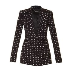 Givenchy Micro geometric-print tailored jacket (€835) ❤ liked on Polyvore featuring outerwear, jackets, black multi, single breasted jacket, tailored jacket, shiny jacket, givenchy and givenchy jacket