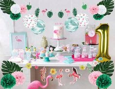 Summer Flamingo Birthday Party Decoration Set Tropical photo ideas from Amazing Home Decor Photo Ideas Flamingo Birthday, 1st Birthday Girls, 1st Birthday Parties, Balloon Birthday, Summer Birthday, 1 Year Birthday, Baby Balloon, Flamingo Party Supplies, Tropical Girl
