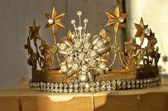 Rusty brass ornate crown French Santos by AnitaSperoDesign on Etsy