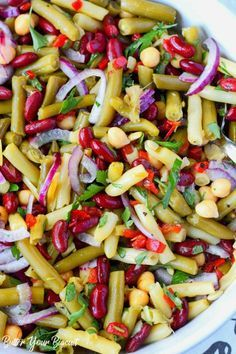 Marinated Four Bean salad Recipe-Butter Your Biscuit - Summer Recipes Healthy Salads, Healthy Cooking, Cooking Recipes, Healthy Recipes, Fast Recipes, Bean Recipes, Vegetable Recipes, Mixed Bean Salad Recipes, Lettuce Salad Recipes