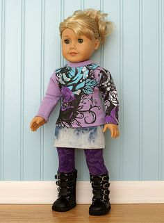 American Girl Doll Clothes-Purple Floral Tee Set