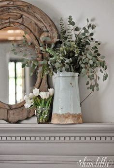 Simple mantel display in this Winter Living Room by dear lillie (fireplace plant decor) Farmhouse Decor, Decor, Living Room Decor Furniture, French Country Living Room Furniture, Winter Living Room, Fireplace Mantel Decor, Country Living Room Furniture, Farmhouse Mantel, Country Living Room