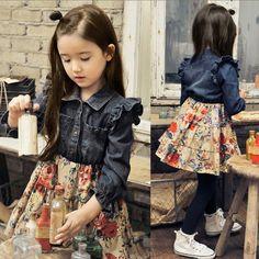 Купить товарНовый 2014 дети платья весна осень девушки с длинным рукавом джинс цветочные платье свободного покроя одежда девушка вечерние платья 5 шт./лот в категории Платьяна AliExpress.