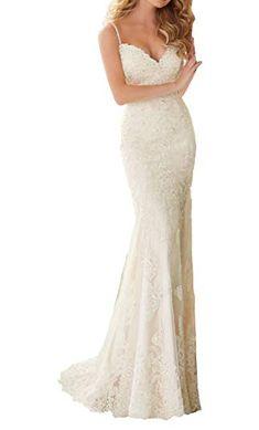 e1f52ea0ac Eldecey Women s Spaghetti Straps Sleeveless V-Neck Applique Applique Hem  Beaded Backless Church Wedding Bridal Dress Ivory