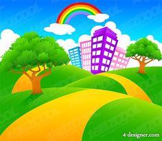 4-Designer | Cartoon landscape vector material