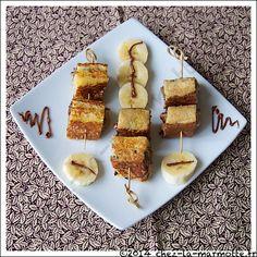 Brochettes de pain perdu à la banane et à la pâte à tartiner