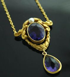 Victorian Antique Jewelry - 14k Gold, Amethyst, Pearl Necklace