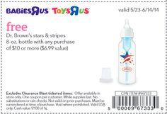 Toys R Us o Baby R Us: GRATIS DR Brown's Botella de Bebes ($6.99 Valor) wyb $10.00  http://www.cuponesparanosotras.com/2014/05/toys-r-us-o-baby-r-us-gratis-dr-browns.html