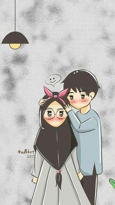 Cute Couple Art, Anime Love Couple, Couple Cartoon, Cute Muslim Couples, Cute Anime Couples, Love Illustration, Character Illustration, Muslim Couple Photography, Hijab Drawing