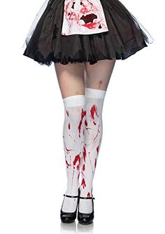 672f4253f17ca Amazon.com: Leg Avenue Women's Bloody Zombie Thigh High Hosiery, White/Red,  One Size: Clothing