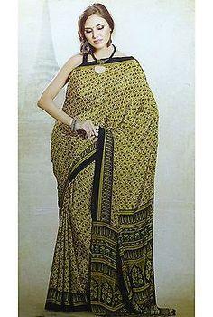Indian Ethnic Bollywood Beige Poly Crepe Silk Saree Elegant Latest Fashion 9033 | eBay