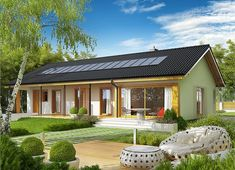 Projekt domu Eryk II G1 (30 stopni) 89,91 m² - koszt budowy - EXTRADOM Lampang, Design Case, My House, Gazebo, House Plans, Cottage, House Design, Patio, Outdoor Decor