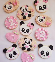 Panda Themed Party, Panda Party, Panda Birthday Cake, Birthday Cookies, Fondant Cupcake Toppers, Cupcake Cookies, Kung Fu Panda Cake, Bolo Panda, Panda Cupcakes