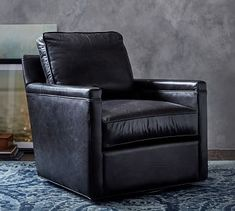 Tyler Leather Square Arm Swivel Armchair without Nailheads, Down Blend Wrapped Cushions, Burnished Wolf Gray Upholstered Arm Chair, Swivel Armchair, Recliner Chairs, Papasan Chair, Recliners, Chair Cushions, Free Interior Design, Interior Design Services, Glider And Ottoman