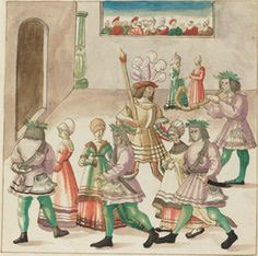German 16th Century - Masquerade - c. 1515 - Drawing