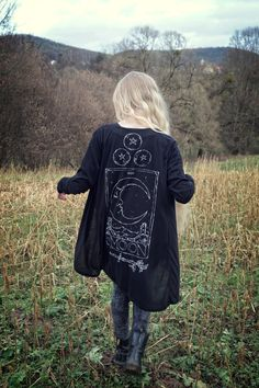 RESERVED for laura - Tarot Moon - size S, handpainted cardigan, black, one of a…